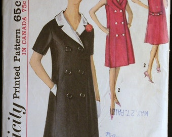 Vintage 60s Misses Double Breasted Dress Pattern  Simplicity 5273 Sz 12