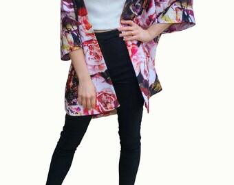 Rose print kimono Jacket