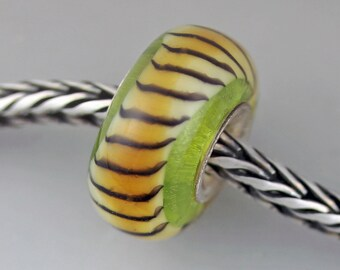 Unique Lime Green Tiger Tail - Artisan Glass Bracelet Beads  - (JUN-69)