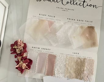 Bridal collection color samples, wedding dress color swatches, custom made wedding dress, made to measure bridal gown, swatches