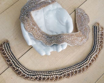2 vintage beaded collars - NO096
