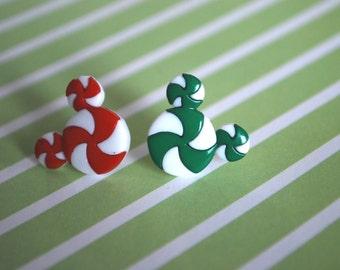 Mickey Mouse Earrings , Christmas Earrings, Mickey Minnie Peppermint Earrings -- Mickey Mouse, Minnie Mouse, Mouse Ears