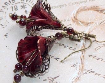 Lucite Flower Earrings, 'Cranberry Copper', Victorian Earrings, Boho Earrings, Drop Earrings, Handmade Earrings, Copper Red Earrings