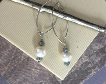 Freshwater pearl and iolite gemstone earrings with sterling silver long V ear wires E284