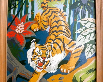 1960s Paint by Number Tropical Tiger Painting // Wooden Frame // Tiki Room