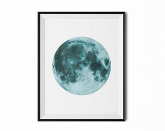 full moon art, blue moon print, lunar phase art, modern art, minimal print, blue moon, moon poster, wall art, dorm art, moon photograph