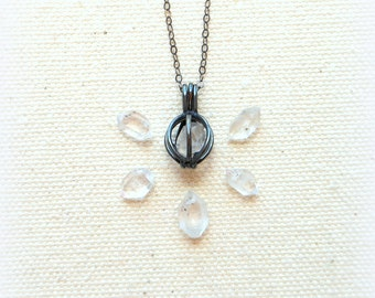 Herkimer Diamant Halskette minimalistischen Kristallhalskette Heilung Kristallhalskette rohen Herkimer Käfig Kette Sterlingsilber