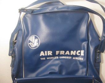 Vintage Air France Carry On Bag Zipper Shoulder Strap Blue