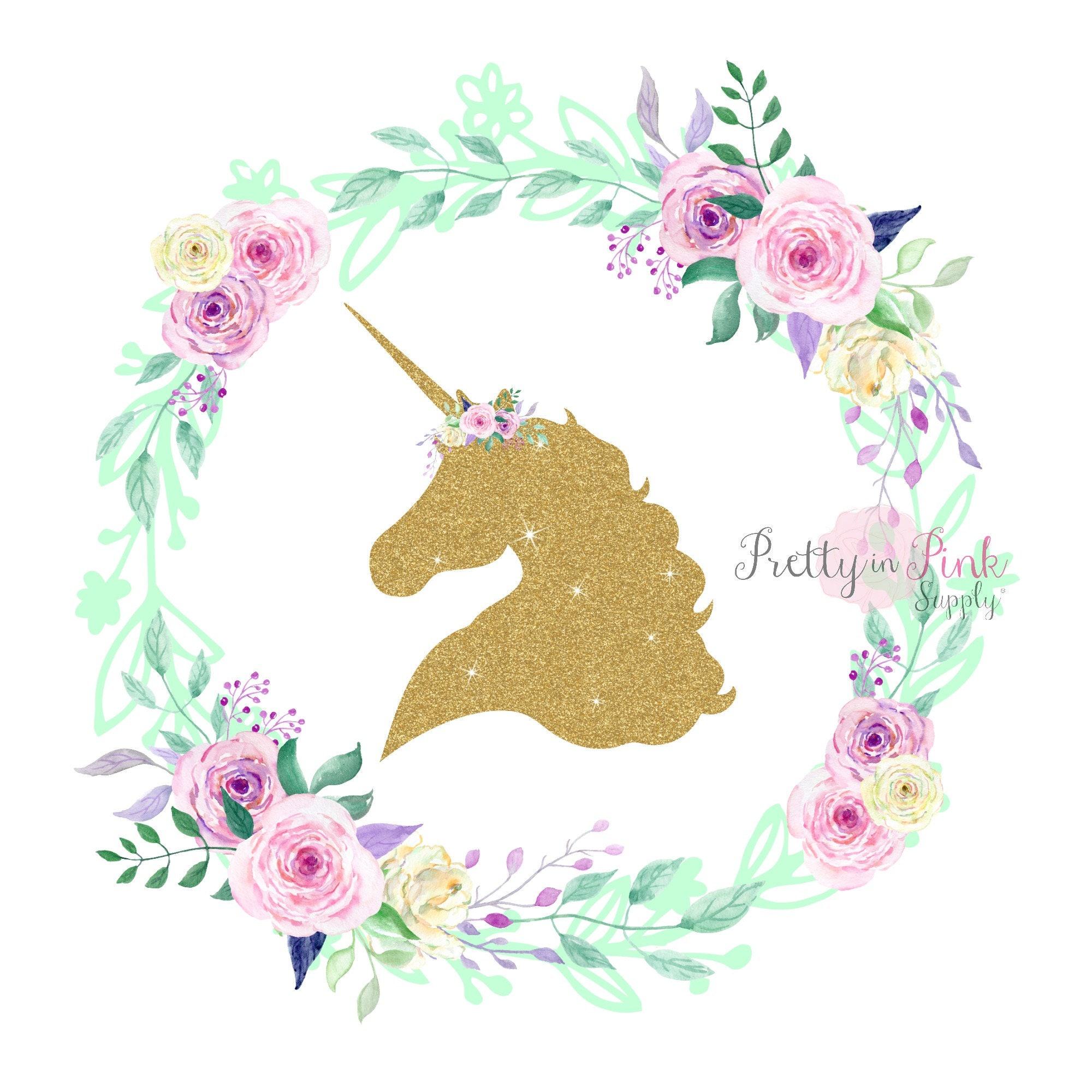 gold glitter unicorn center floral wreath iron on diy iron on. Black Bedroom Furniture Sets. Home Design Ideas