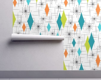 Atomic Wallpaper - Burmond #G3 By Tonyanewton - Mid Century Modern Custom Printed Removable Self Adhesive Wallpaper Roll by Spoonflower