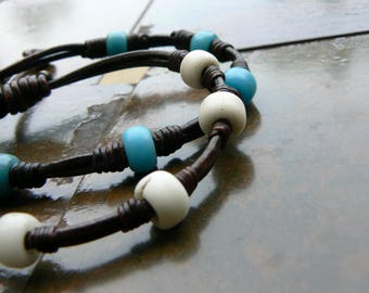 Chuma African Trade Bead Leather Cord Bracelet, Men's Women's Leather Bracelet, Tribal Knot Bracelet, Blue White Red Black Boho Gypsy Surfer