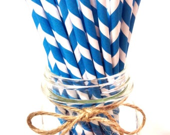 25 Blue Stripes paper straws // baby bridal shower decorations / candy dessert buffet table // wedding // First birthday/new year party
