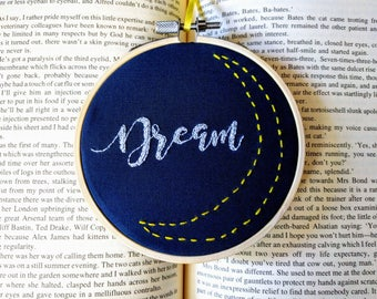 """Hand Embroidered 4 inch """"Dream"""" - White script with yellow moon outline"""