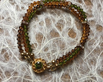 Green and Brown crystal pendant