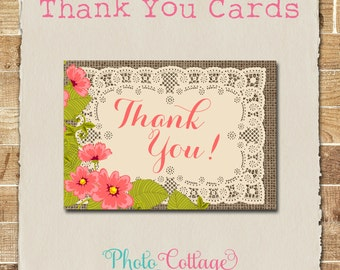 Vintage Thank You Cards, Flower Thank You Card, Lace Thank You, Bridal Thank You, Wedding Thank You, BS181