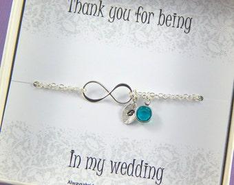 Bridesmaids Bracelet Birthstone And Hand Stamped Leaf Bracelet Bridesmaids Thank You Gift Sterling Silver