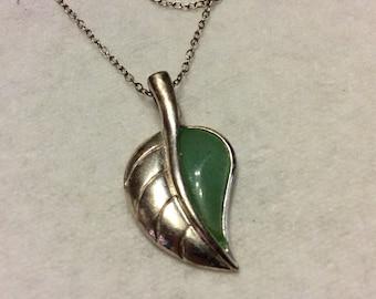 925 sterling silver jadeite leaf necklace.