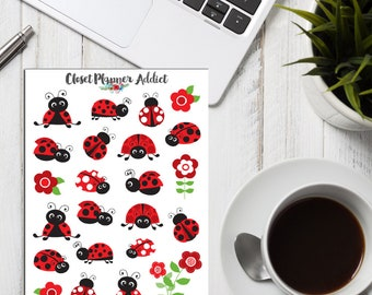 Cute Ladybirds Planner Stickers | Red Ladybirds | Cute Ladybirds | Ladybirds Stickers | Floral Stickers | Bug Stickers (S-257)