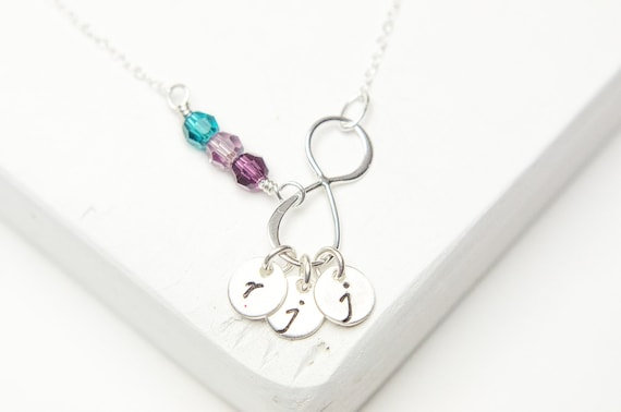 One Two Three Initials Necklace - Birthstones or Pearls   Personalized Infinity Necklace   Sterling Silver Wedding   Best Friends