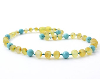 """Baltic Amber Teething Necklace, Raw Honey mixed with Turquoise Beads, Available in 11-14.2"""" (28-36 cm) Length, Baroque Baltic Amber Beads"""