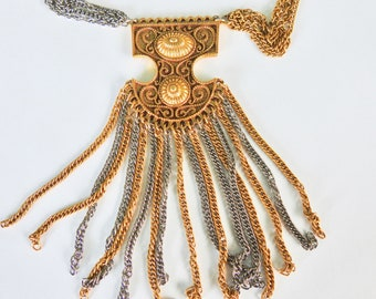 Gold and Silver Tone Vintage Etruscan Revival Multi Chain Tassel Necklace