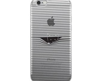 Funny cat peeking through blinds iPhone Case, Cute kitty keeping an eye on you.