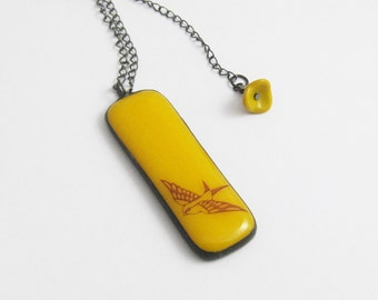 Yellow Fused Glass | Swallow Pendant | Stained Glass | Gift Under 50
