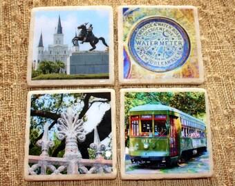 New Orleans Theme Stone Coasters - Nola Set of Four