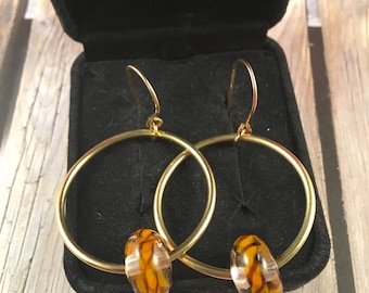 Gold Hoop Earrings with Colorful Glass Beads on 14kt Gold Filled Ear Wires One of a Kind