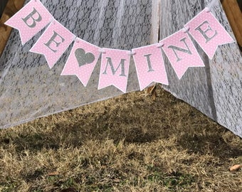 Be mine paper banner valentines be mine banner photo prop banner wall banner for valentines