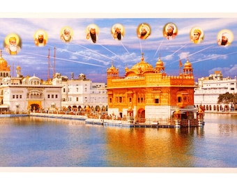 Golden Temple With 10 Gurus Wall Poster Print Without Frame (30 X 60 Inches)