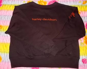 NEW! Harley Davidson Youth Black Sweatshirt Embroidered Lettering MEDIUM