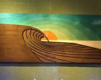 Surf Sculpture   Wood Wall Art   SUNSET PEAKS
