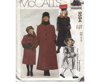 Childs Long Coat Pattern Size 3 4 5  Hat Headband and Muff - McCalls 9594 - Vintage - Help Rescued Cats