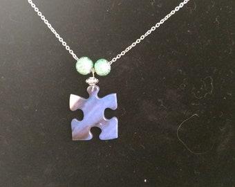 Short Chain Blue Puzzle Piece Necklace
