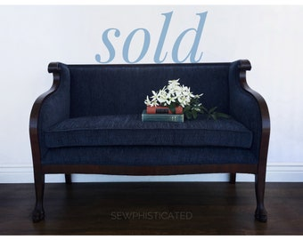 SOLD *** No Longer Available *** Empire Style Petite Settee Antique (1820's-1840's)