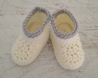Cute Crochet Booties -  White with Gray Baby Booties - 3 Month Size Baby Crib Shoes - Ready To Ship Handmade Baby Gift