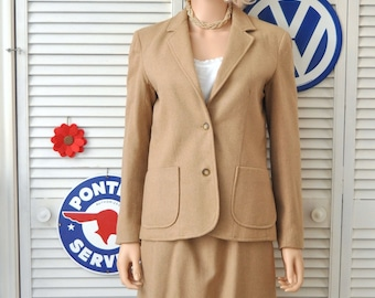 Vintage 80s Womens Dress 2 Piece Business Suit Retro 80s does 40s Skirt & Jacket Camel/Tan Small Pieces Costume Wool Acrylic Polyester lined