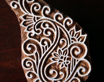 Textile Stamp, Pottery Stamp, Indian Wood Stamp, Tjaps, Blockprint Stamp- Swirl Paisley