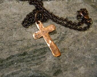 Copper cross pendant etsy rustic copper cross necklace hammered copper cross mens cross necklace boho necklace aloadofball Images