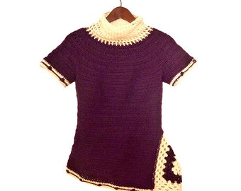 Myrtille - PDF crochet pattern - Asymmetric tunic with mesh cowl and granny triangle - Size XS to XL