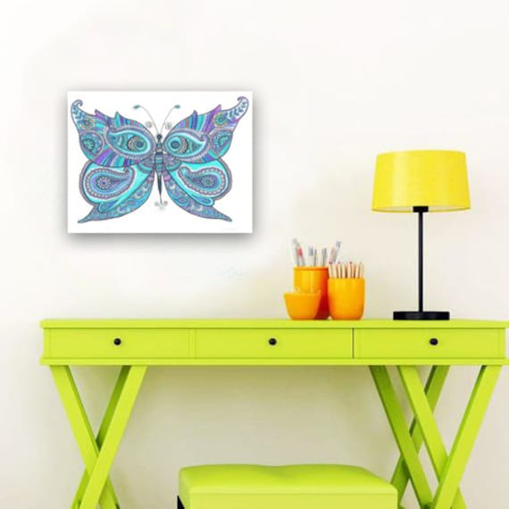Christmas Gift Sky Blue Butterfly Drawing Blue Wall Decor