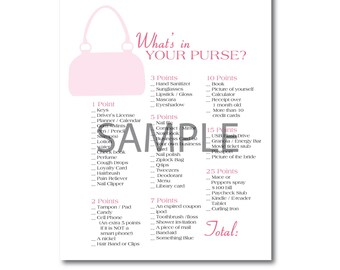 Pink Bridal Shower Game: What's in Your Purse?