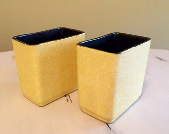 Pair of Retro Yellow Speckled Shawnee Pottery Touche Vases