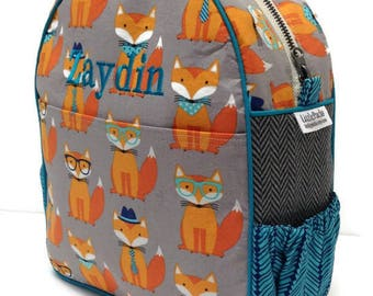 Personalized Toddler Backpack, Preschool Backpack, Fox Backpack, Boys Backpack, Houndstooth Backpack, Kindergarten Backpack, Book Bag, Tote