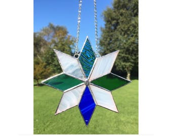 Stained Glass Blue White and Green Star Suncatcher Decoration