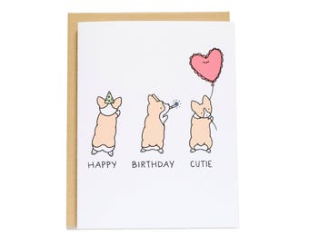 Birthday Sploot Card, Corgi Sploot, Corgi Card, Dog Birthday Card, Best Friend Birthday, Cute Birthday Card, Boyfriend Birthday