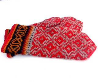 Mittens, hand knitted brown red wool mittens, fair isle mitts, knit latvian mittens, knitting winters gloves, wool arm warmers, mitts
