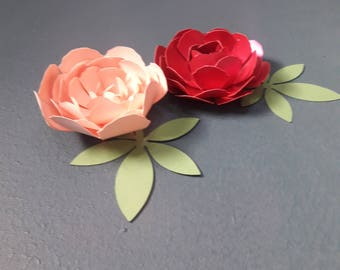 Paper Peony Flower Template, Paper flower pattern, Paper Flower Bouquet, Cutting Files, Paper Flower Template