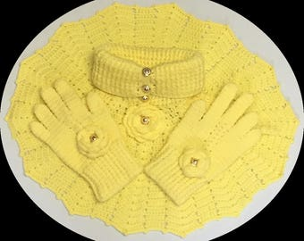 Cream Crocheted Poncho & Glove Sets